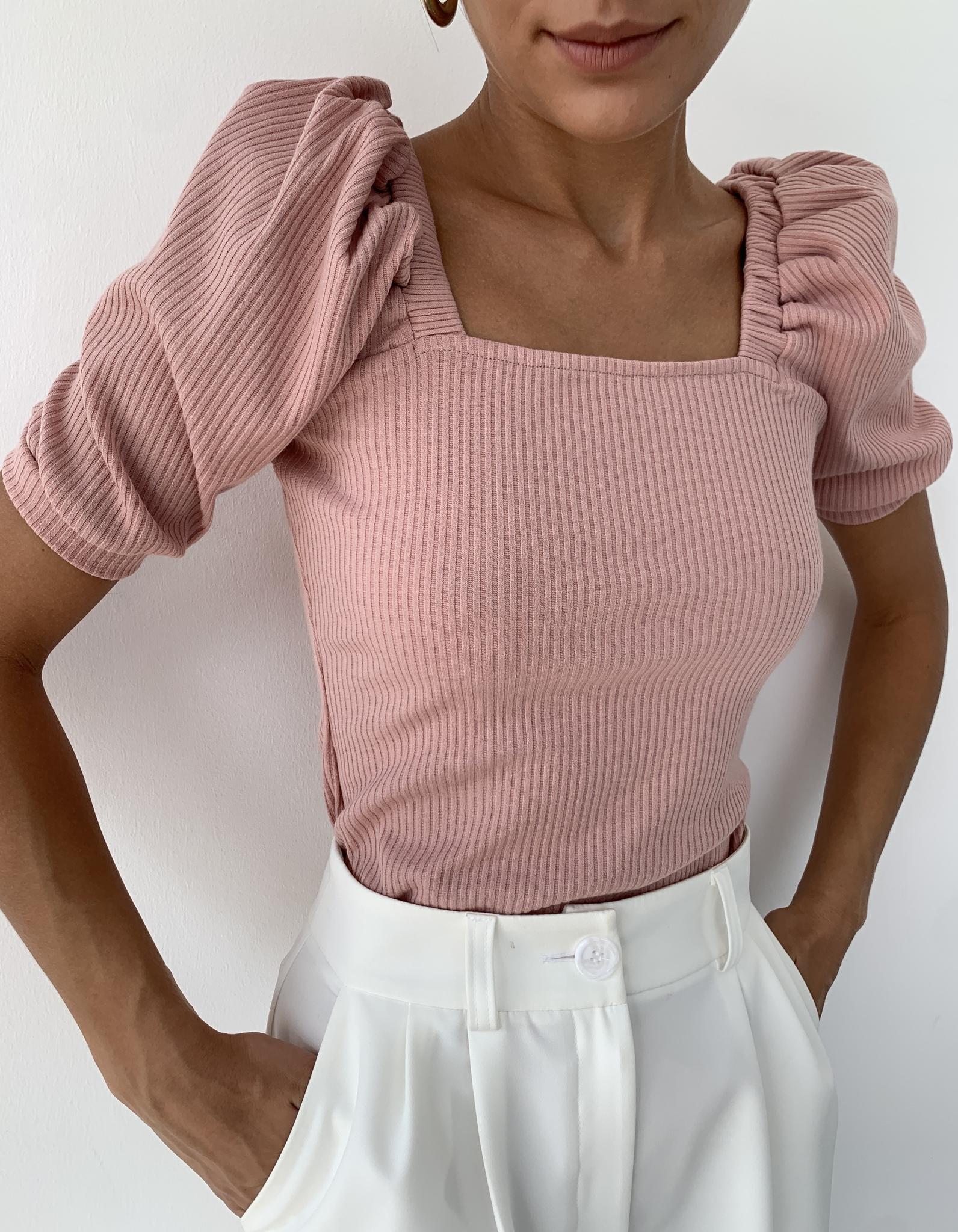 Кофточка с коротким пышным рукавом (светло-розовый)