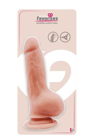 Телесный фаллоимитатор BENDABLE DILDO на присоске - 18 см.