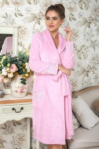Халат из велсофта розовый Nic Club vicia-1601