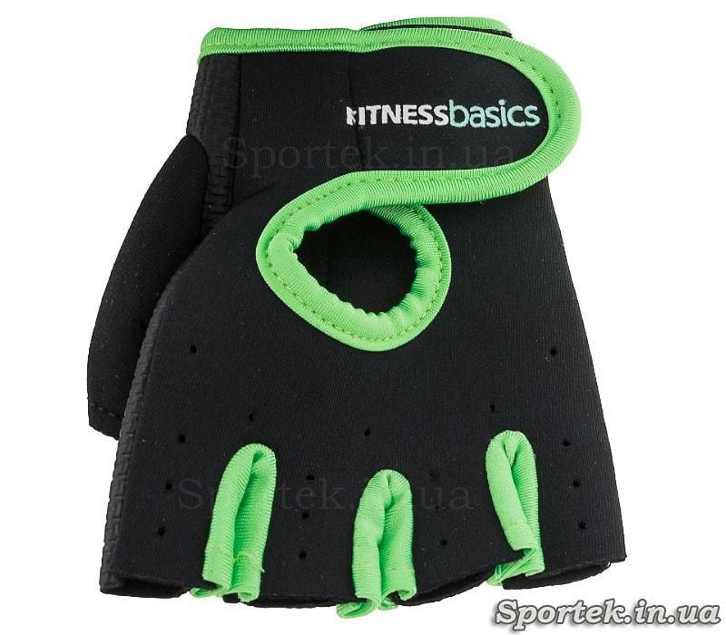 Неопреновые перчатки без пальцев FITNESS BASICS BC-893 - зеленые