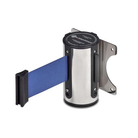 Столбик ограждения TEH_Настенный блок нерж. сталь с вытяж.лентой 3 м синий