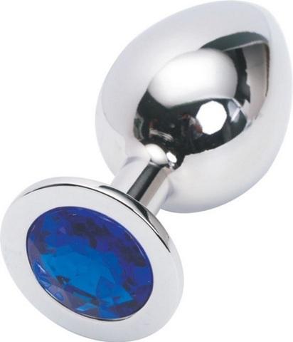 Анальная пробка серебро с синим стразом M 3,4 х 8,2 47018-1-MM