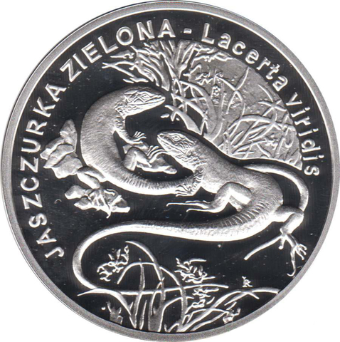 20 злотых. Зелёная ящерица, Lacerta viridis. 2009 год. Польша.