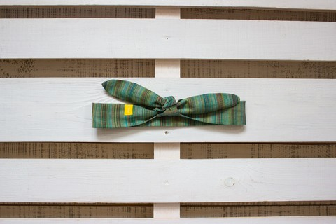 Повязка на голову (солоха) зеленая с коричневым в вертикальную полоску