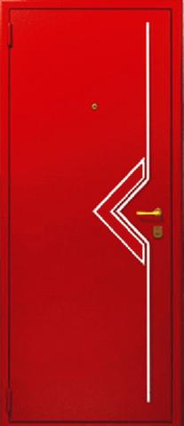 Входная дверь с наружным металлическим декором S1