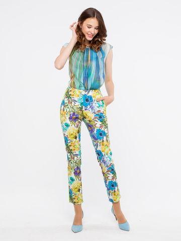 Фото оригинальные зауженные хлопковые брюки с цветочным принтом и карманами - Брюки А428а-134 (1)