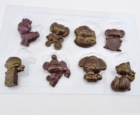Пластиковая форма для шоколада бол. ЗВЕРЯТА (55х40мм)
