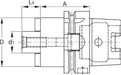 Оправка для насадной фрезы с каналом для подвода СОЖ HSK-A 63 короткий