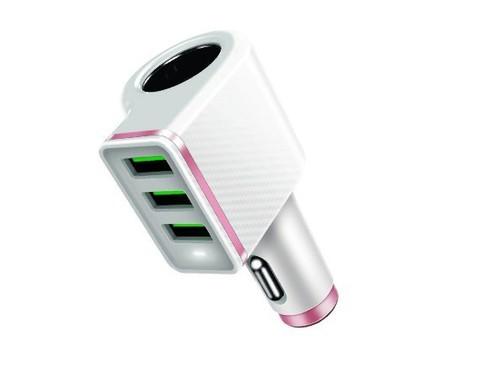 Ldnio / автомобильное зарядное устройство 3USB CM12 4.2A | белый доп. гнездо АЗУ