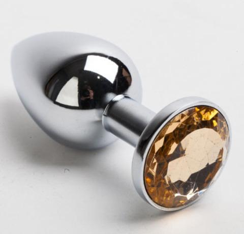 Анальная пробка серебро со вставкой желтый страз S 47019-MM