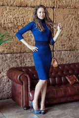 Платье F134-01 футляр синий