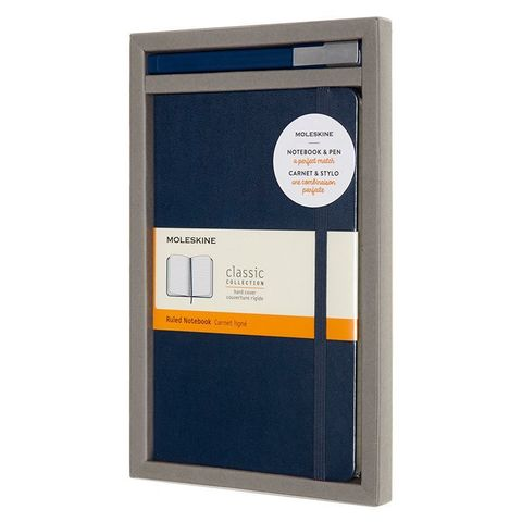 Набор Moleskine Bundle Vertical блокнот/ручка блокн.:Classic Large линейка синий