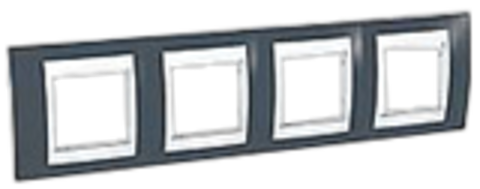 Рамка на 4 поста. Цвет Серо-зеленый/белый. Schneider electric Unica Хамелеон. MGU6.008.877