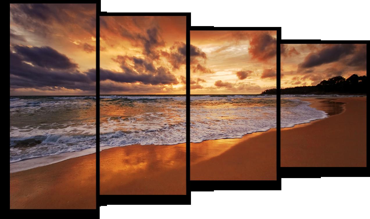 """Природа Модульная картина """"Вечерний пляж"""" М494.png"""