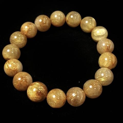 Бусины кварц рутиловый А золотой шар гладкий 12 мм нить 17 бусин