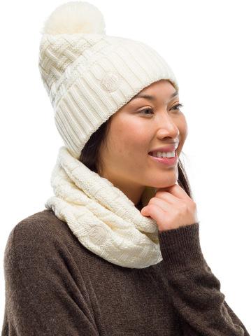 Комплект вязаный шапка-шарф Buff Knitted Polar Savva White фото 1