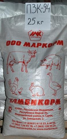Комбикорм ПЗК-94 для кроликов, Маркорм, 25кг
