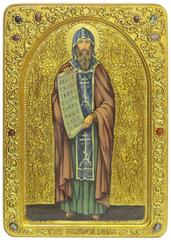 Большая Живописная икона Святой равноапостольный Кирилл Философ 42х29см на кипарисе в березовом киоте