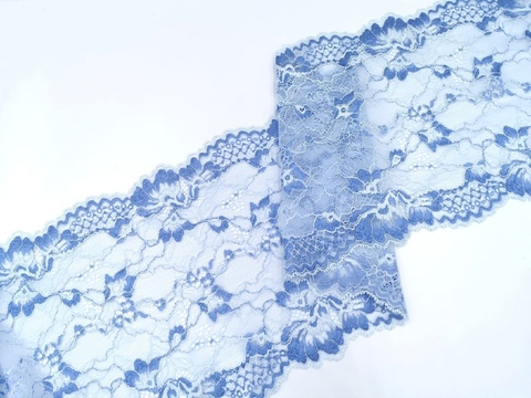 Эластичное кружево, 20,5 см, голубое, (Арт: EK-2522), м