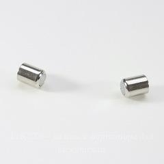 Замок для шнура 6 мм магнитный из 2х частей, 20х8 мм (цвет - платина)
