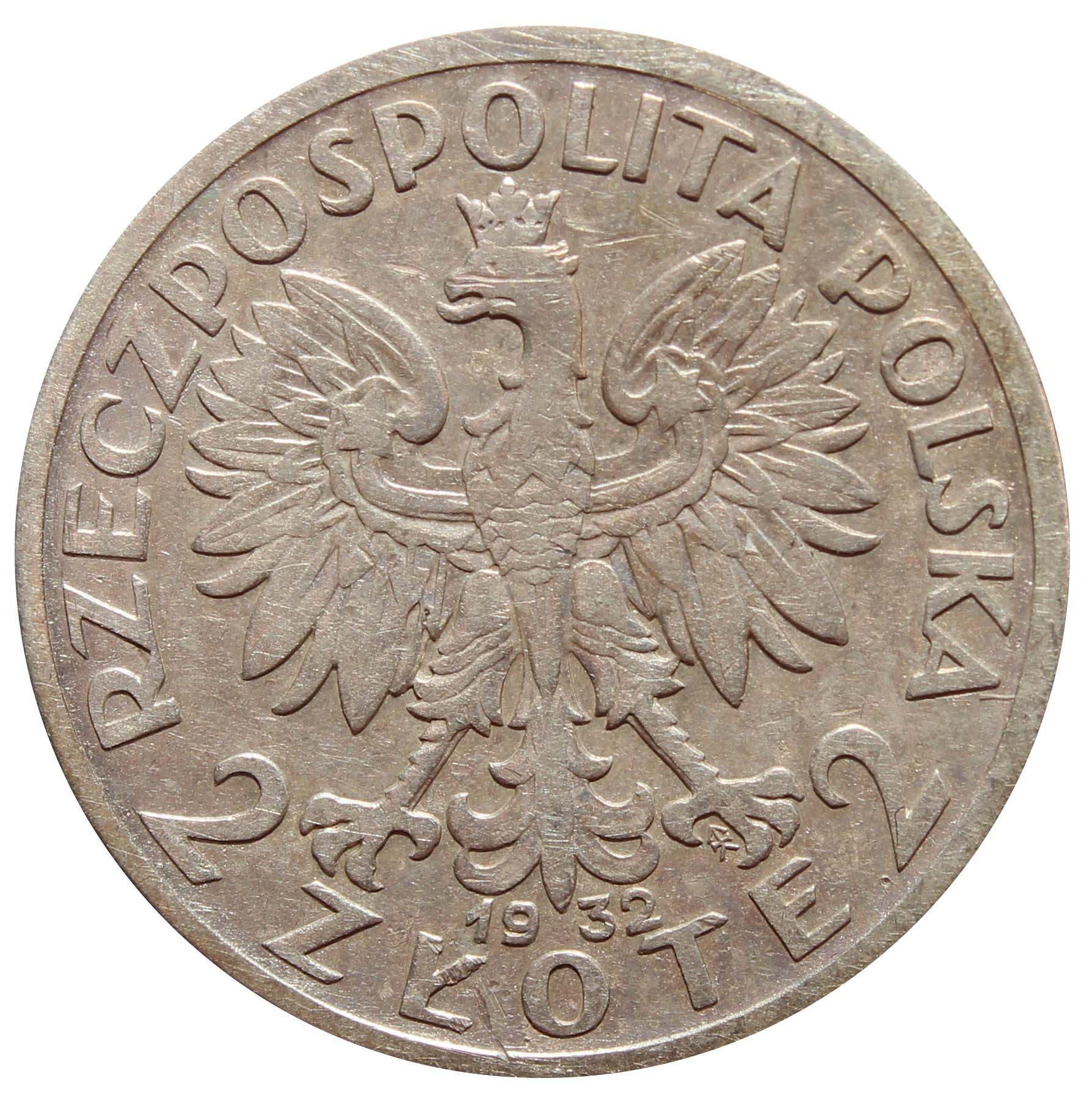 2 золотых. Ядвига. Польша. 1932 г. VF