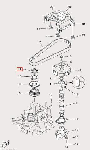 Гайка M24×1 для лодочного мотора F9,9 Sea-PRO (8-11)