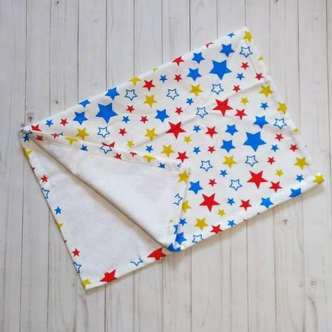 Пеленка непромокаемая из фланели BabyStarTex, 50х70 см, цветные звездочки