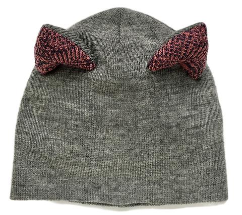 Женская серая зимняя шапочка с кошачьими ушками