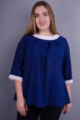 Рената. Практична блузка великих розмірів. Синій.