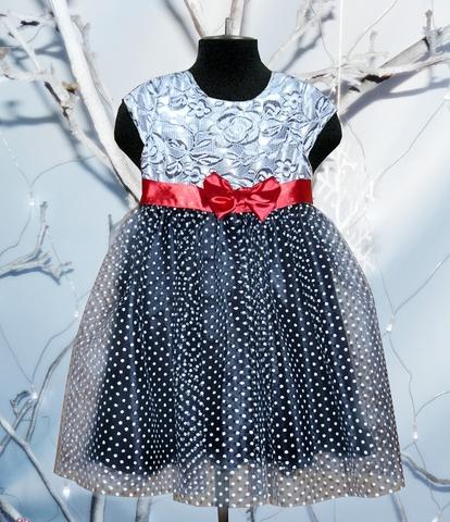 Нарядное платье для девочки в белый горох