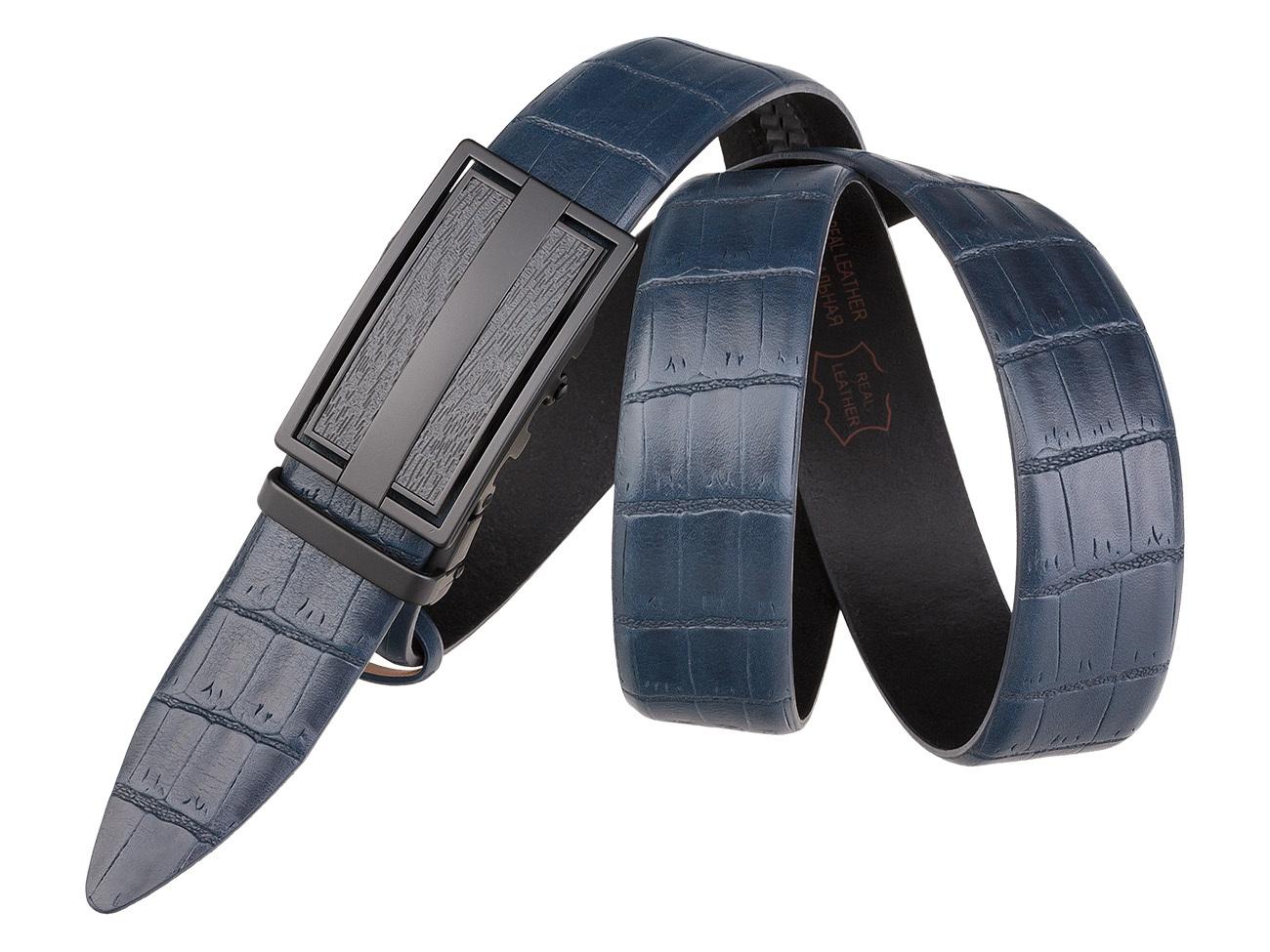 Мужской классический кожаный синий ремень AP35-09