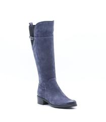 Синие сапоги из натурального нубука на низком каблуке