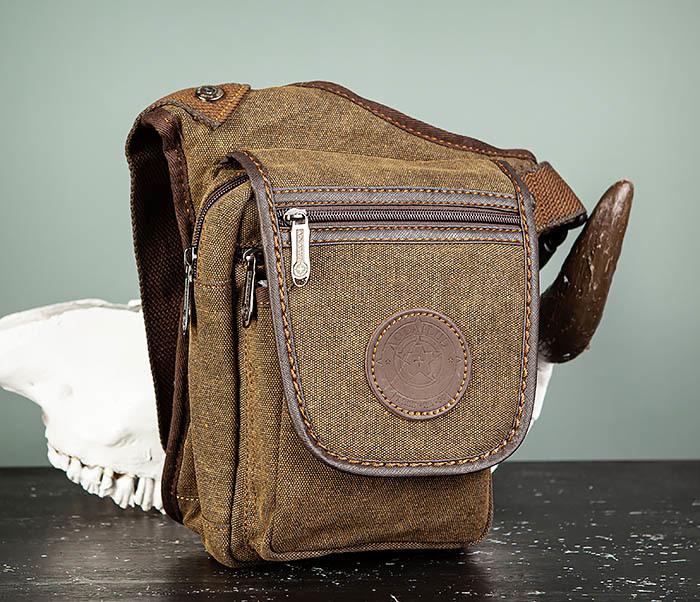 BAG508-2 Небольшая набедренная мужская сумка из ткани фото 02