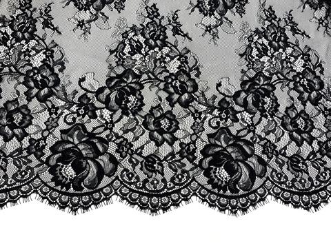 Кружевное полотно шантильи черное (1,5х3м)