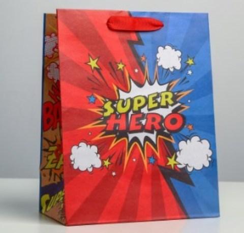 060-0078 Пакет крафтовый вертикальный «Супер герой», MS 18 × 23 × 10 см