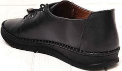 Стильные женские мокасины кроссовки из натуральной кожи деловой кэжуал EVA collection 151 Black.