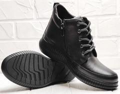 Женские кожаные ботинки кеды на толстой подошве Evromoda 535-2010 S.A. Black.