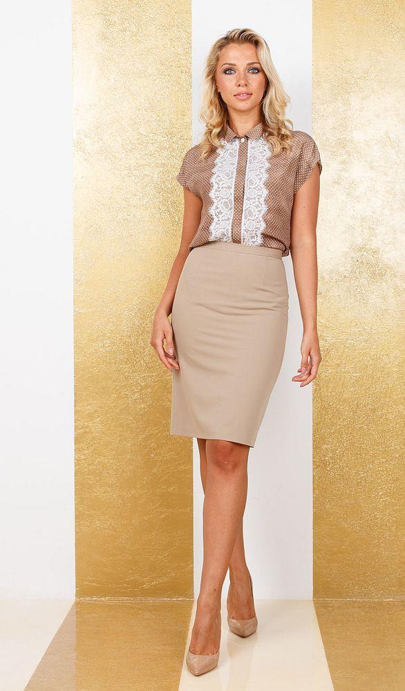 Юбка Б100-775 - Прямая юбка из легкой костюмной ткани на подкладке. Прекрасно сочетается с любым верхом, подойдет как для офиса так и для повседневной жизни.