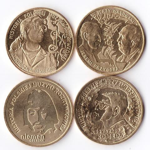 Набор из 4 монет История польской музыки, Польша. UNC