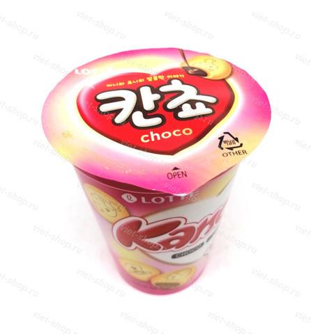 Печенье с шоколадной начинкой Kancho Lotte, в стакане, Корея, 95 гр.