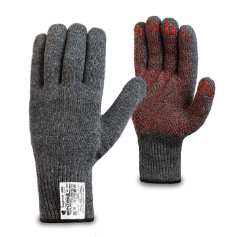 Утепленные рабочие перчатки шерстяные с антискользящим покрытием