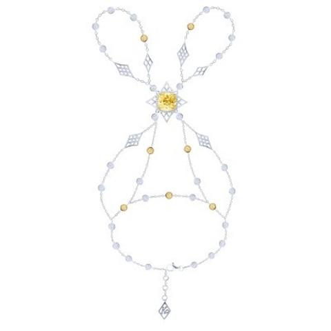 4748 - Слейв-браслет из серебра с желтыми цирконами