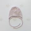 Шапочка розовая в полоску на завязках из тонкой шерсти мериноса