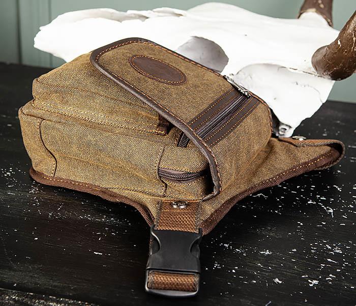 BAG508-2 Небольшая набедренная мужская сумка из ткани фото 04