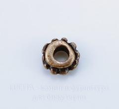 Бусина металлическая - спейсер 6х3 мм (цвет - античная медь), 10 штук