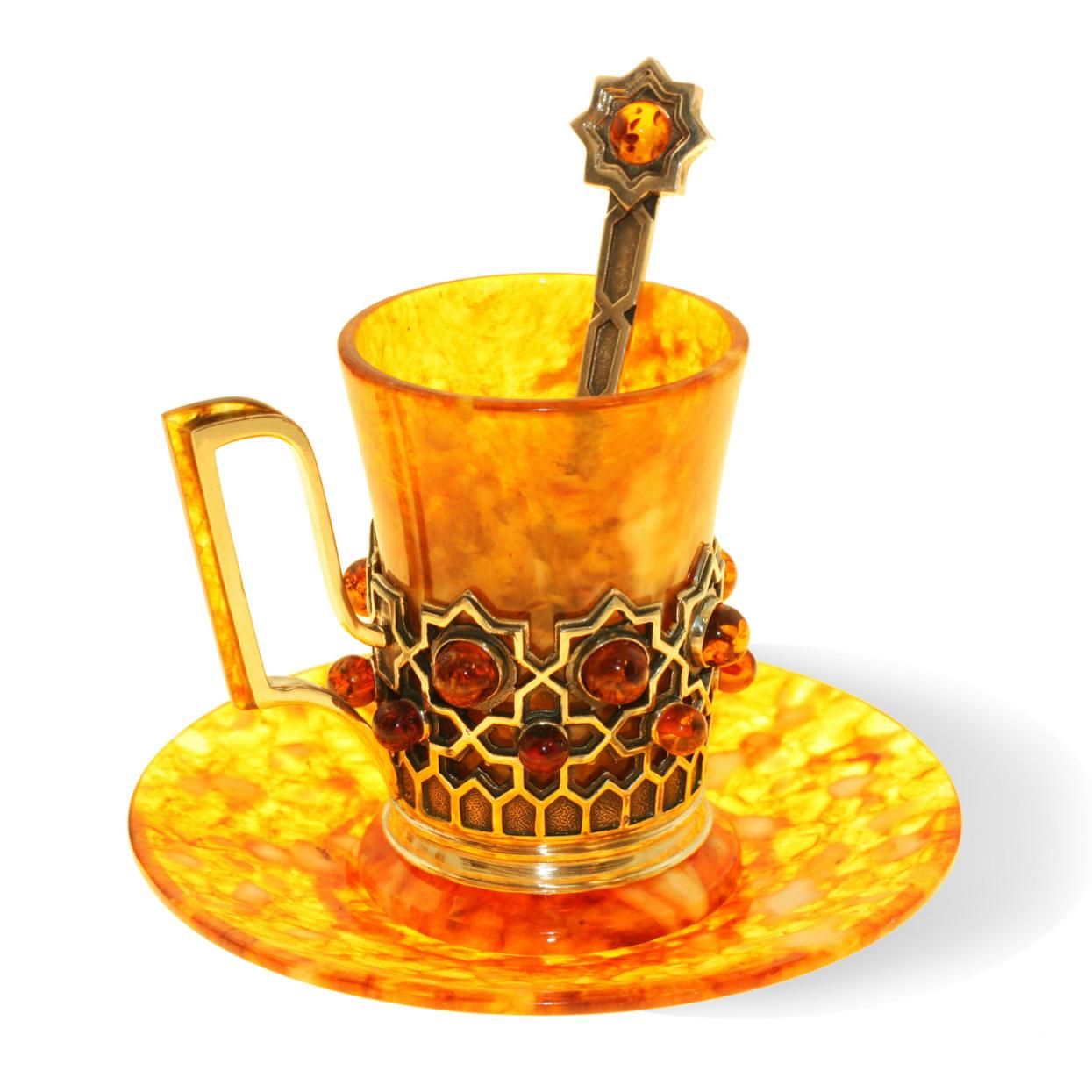 Кофейная чашка из янтаря и бронзы «Визирь» с ложечкой