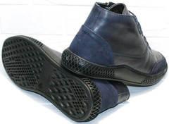 Синие ботинки на толстой подошве осень зима мужские Luciano Bellini BC2802 L Blue.