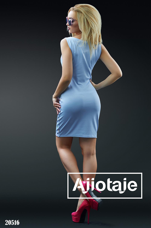 Силуэтное платье миди голубого цвета