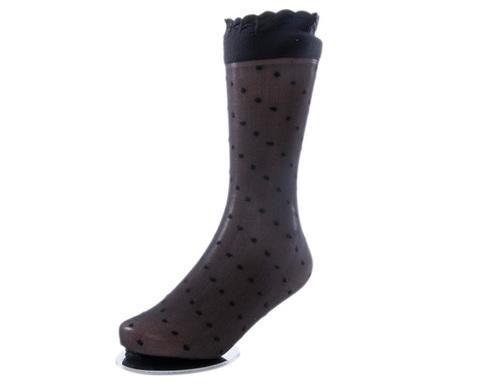 Носки детские эластичные 20 den чёрные в горох