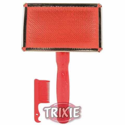 Trixiе 2354 Набор д/собак пуходерка без капли 13*9см + расческа, пластиковая ручка